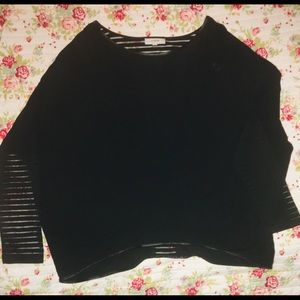 Umgee Black Top with faux Leather/sheer accents